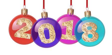 2018 sfer Nowego Roku ze złotym tekstem. Bombka. element projektu. projekt banerów, plakatów, ulotek, kalendarza, pocztówek