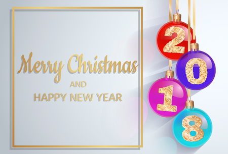 Merry Christmas. 2018 New Years spheres with golden text. 3d Christmas ball. design element.  design for banners, posters, leaflets, calendar, postcards. Zdjęcie Seryjne