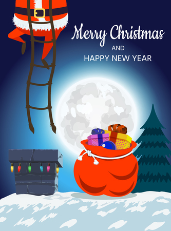 Santa Claus on the roof descends into the chimney. Christmas design of a winter holiday poster, postcards, for banners, posters, brochures, leaflets,Place for your text.  illustration