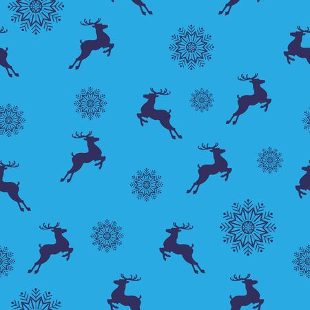 Christmas seamless pattern with deers and snowflakes on a blue background.vector illustration