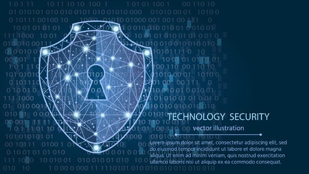 Cyber security concept: Shield on digital data background. Illustrates cyber data security or information privacy idea. Blue abstract hi speed internet technology.Protection concept.vector illustration Ilustracja