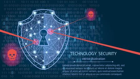 Concept de cybersécurité: Bouclier sur fond de données numériques. Illustre l?idée de la sécurité des données informatiques ou de la confidentialité des informations. Abstrait bleu Salut technologie internet vitesse. Illustration de la protection concept.vector Vecteurs