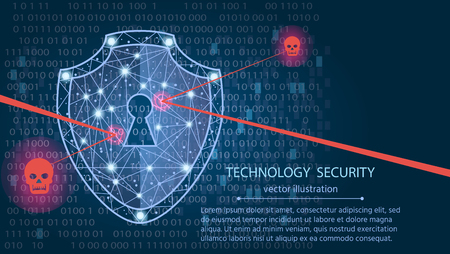Cyber security concept: Shield on digital data background. Illustrates cyber data security or information privacy idea. Blue abstract hi speed internet technology.Protection concept.vector illustration Çizim