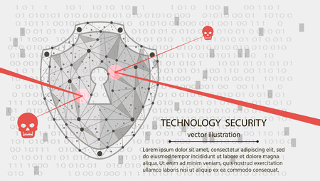 Low poly wireframe background: Shield on digital data background. Illustrates cyber data security or information privacy idea. hi speed internet technology.Protection concept.vector illustration.
