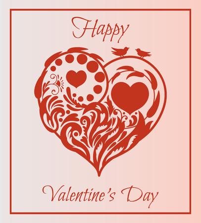 Valentine's day card. Floral heart with two birds sitting on a branch.beautiful silhouette of the heart of lace flowers, tendrils and leaves.Vector illustration