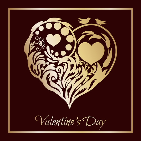 Valentines day card. Floral heart.beautiful silhouette of the heart of lace flowers, tendrils and leaves.Vector illustration