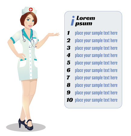 Nurse on presentation. Nurse with clipboard giving medical presentation. Zdjęcie Seryjne