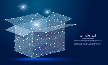 The abstract design of the open box, in the form of lines and dots, the starry sky. concept of transport, business, sales, gift Ilustracja