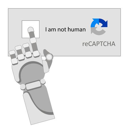 robot arm, captcha, neural network Ilustracja