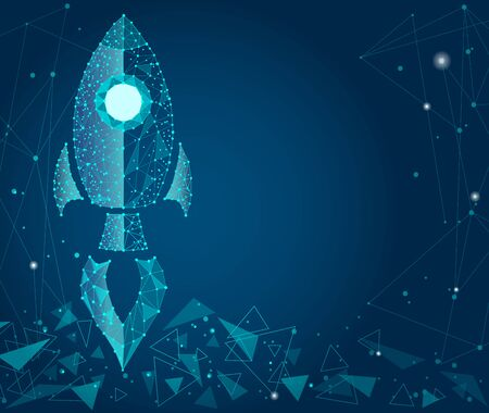 Business concept,rocket startup,bright neon.isolated from low poly wire frame on a blue background. abstract polygonal image mash line and point. Zdjęcie Seryjne