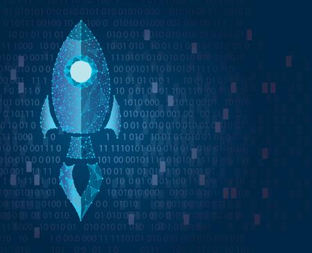 Rocket low-polygonal illustration, flying vertically, glowing neon. concept of start-up. illustration Zdjęcie Seryjne