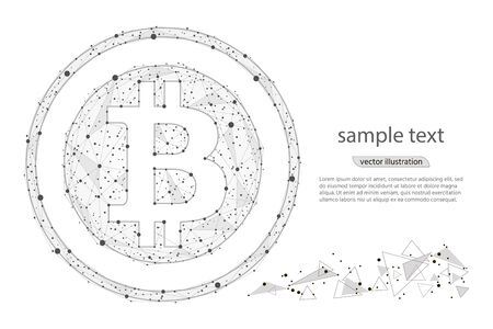 Bitcoin digital currency coin.isolated from low poly wireframe on white background.Vector abstract polygonal image