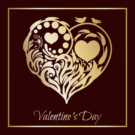 Valentines day card. Floral heart with a gold pattern, with two birds sitting on a branch.beautiful silhouette of the heart of lace flowers, tendrils and leaves. illustration