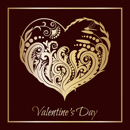 Valentines day card. Floral heart with a gold pattern.beautiful silhouette of the heart of lace flowers, tendrils and leaves. illustration