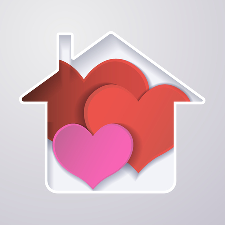 paper red heart in the house, the concept of a happy family.origami design greeting cards.3d effect. Vector illustration.