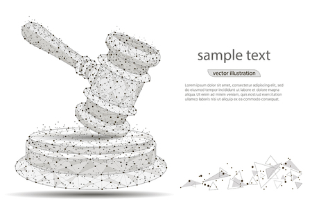 Abstract hammer design of a judge, in the form of lines and dots on a white background with space for text. vector illustration Ilustracja