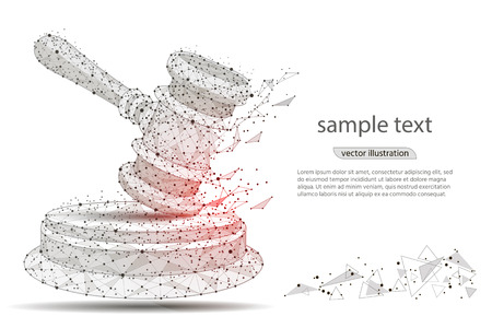 Gavel. abstract hammer design of a judge, in the form of lines and dots on a white background with space for text. isolated from low poly wire frame, polygonal image. vector illustration.