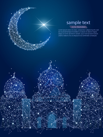 Mosque and moon poly frame on a blue background, abstract design of lines and dots, in the form of a night sky and stars. Vector illustration.