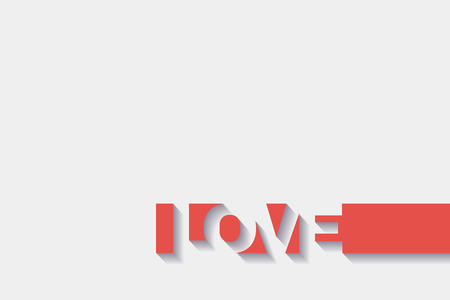abstract text design LOVE with 3D effect