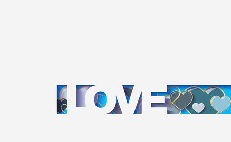 background of hearts, cut from the paper the text love , origami design