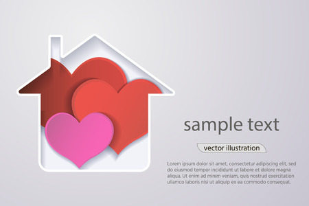 paper red heart in the house, the concept of a happy family.origami design greeting cards.3d effect. Vector.
