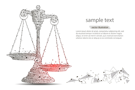 Scales of justice. Abstract design of scales, in the form of lines and dots on a white background with space for text.low poly wireframe on white background. polygonal image.Vector illustration Ilustracja