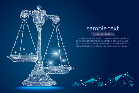 Scales of justice. Abstract design of scales, in the form of lines and dots, stars with space for text, against the background of outer space, sky. Vector