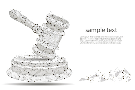 abstract hammer design of a judge, in the form of lines and dots on a white background with space for text. isolated from low poly wireframe,polygonal image.  illustration Zdjęcie Seryjne