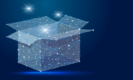 The abstract design of the open box, in the form of lines and dots, the starry sky. concept of transport, business, sales, gift Zdjęcie Seryjne