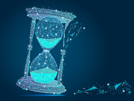 abstract design of hourglass, in the form of lines and points, the concept of business and time.isolated from low poly wireframe on blue background.  abstract polygonal image. Digital graphics Zdjęcie Seryjne