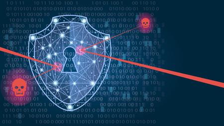 Conceito de segurança cibernética: escudo em fundo de dados digitais. Ilustra a segurança de dados cibernéticos ou a ideia de privacidade das informações. O sumário azul olá! Tecnologia do Internet da velocidade Conceito da proteção. ilustração