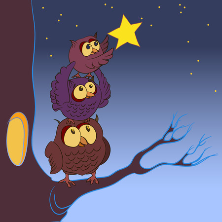 family of owls, the concept of dreaming, illustration