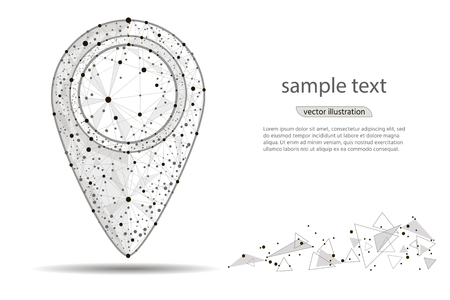 abstract Pin Pointer.isolated from low poly wireframe on white background. Vector abstract polygonal image mash line and point.