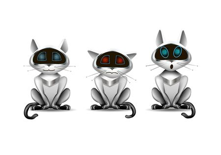 cat robot, funny toy with different emotions, illustration