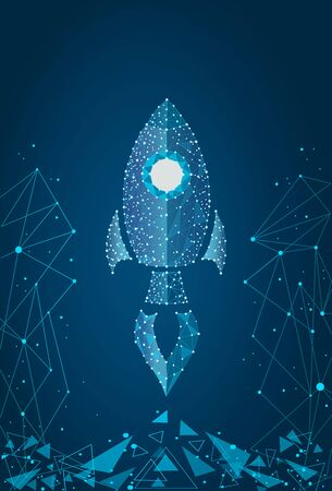 business concept,rocket startup,bright neon.isolated from low poly wireframe on a blue background.  abstract polygonal image mash line and point.