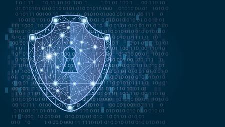 Cyber security concept: Shield on digital data background. illustration