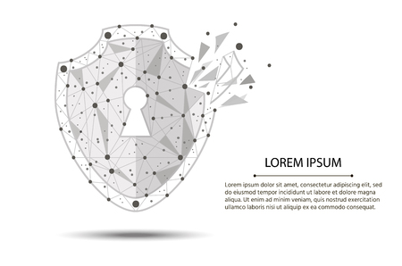 Security Violation - Infographical Concept. Graphic design on the theme of Cyber-Security Technology.isolated from low poly wireframe on white background. abstract polygonal image mash line and point.