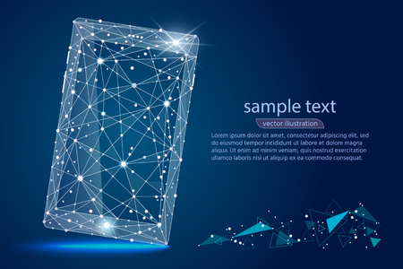 Abstract design of mobile phone smartphone. Isolated from low poly wire-frame on space background. Vector abstract polygonal image mash line and stars. For printing and web elements.