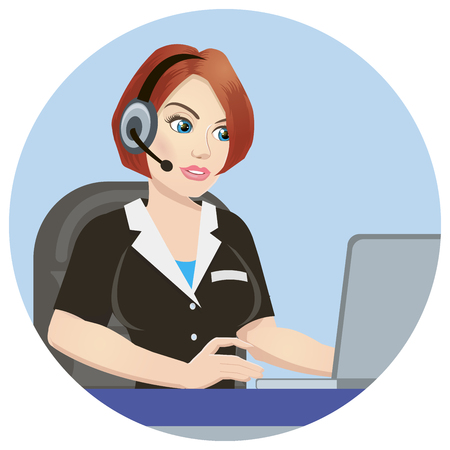 Call center operator at work. isolated on white background. Emergency concept with medical helpline operator wearing headset sitting at table and consulting people, vector Ilustracja