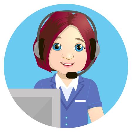 Call center operator at work vector.