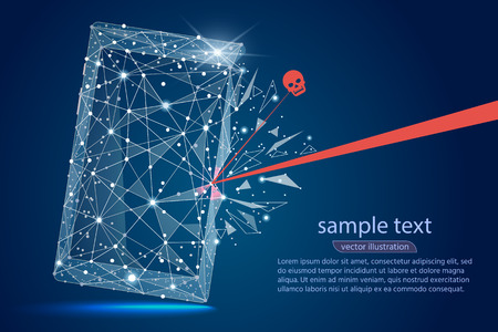 Security Violation - Infographical Concept. abstract design of mobile phone smartphone. Graphic design on the theme of Cyber-Security Technology.