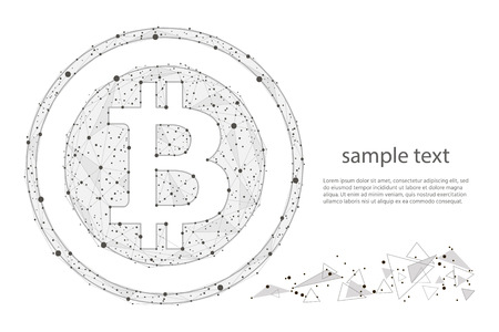 Bitcoin digital currency coin.isolated from low poly wireframe on white background. abstract polygonal image Zdjęcie Seryjne