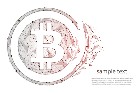 abstract design collapse Bitcoin digital currency coin.isolated from low poly wireframe on white background. polygonal image. illustration.