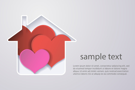 paper red heart in the house, the concept of a happy family.origami design greeting cards.3d effect. . Zdjęcie Seryjne