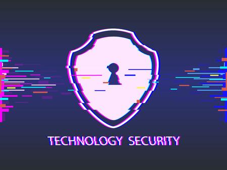 Cyber security concept shield, glitch design vector illustration
