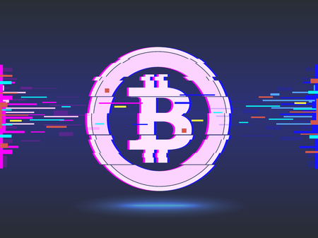 Abstract Bitcoin digital currency coin damage world finance system .glitch design, abstract background. Crypto currency token coins with bitcoin . Blockchain cryptocurrency concept.vector illustration.