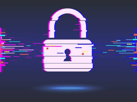 Cyber security concept: lock, glitch design. Illustrates cyber data security or information privacy idea. Blue abstract hi speed internet technology.Protection concept.vector illustration