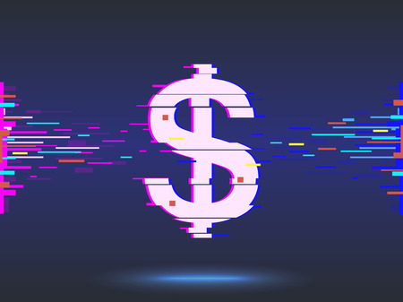 Dollar icon glitch design. Neon icon in abstract background.