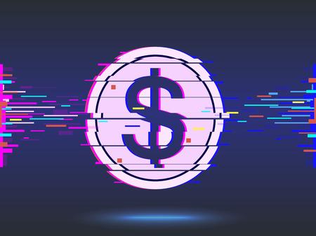 Dollar icon.glitch design,neon icon, abstract background. vector. Ilustracja