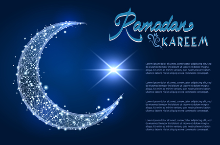 Abstract design of Crescent moon as Islamic symbol. low poly wire frame design on space background. Vector illustration abstract polygonal image line and stars.